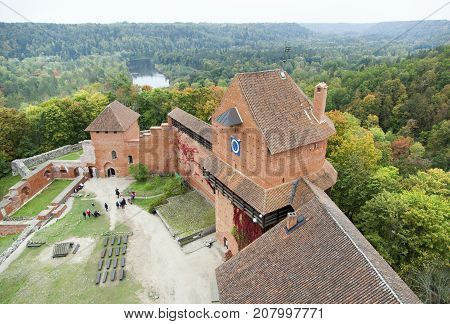 The aerial view of 14th century Turaida Castle with Gauja River national park in a background (Latvia).