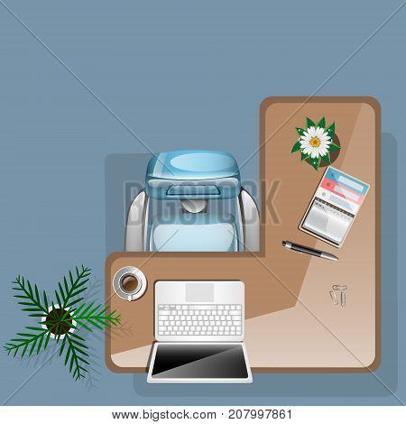 Workplace concept with flowers coffee and office tools. Vector illustration