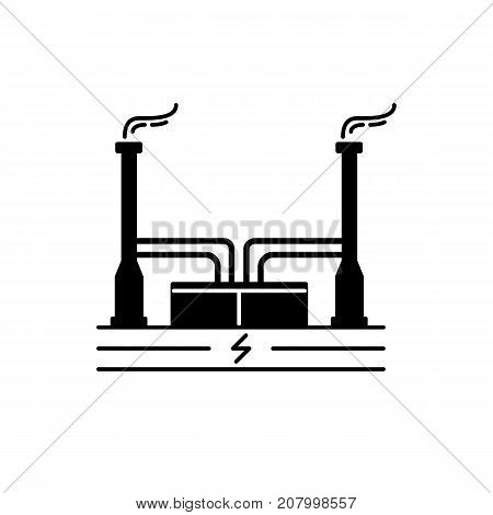 Geothermal power plant silhouette icon isolated on white background. Alternative renewable energy concept symbol in flat style.
