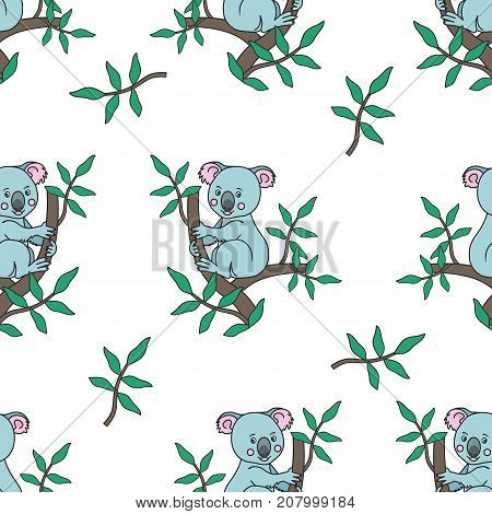 Seamless pattern.Koala on a eucalyptus tree branches with leaves. Australian marsupial bear. tropical animal on a white background. Vector illustration. Print for textile, paper, scrapbooking, or wallpapers.