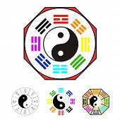 Design elements -  Vector for Chinese Bagua (Eight Trigrams) poster