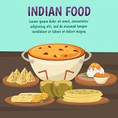 Exotic asian food background with popular dishes of Indian cuisine khichdi chapatis gulab jamun flat vector illustration poster