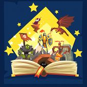 Open book with legend, fairy tail fantasy book with knights, dragon, wizard, imagination concept vector Illustration poster