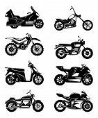 Silhouette of motorcycles. Vector monochrome illustrations set. Black white motorbike speed, chopper transport poster