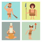 Caveman primitive stone age cards cartoon neanderthal people action character evolution vector illustration. prehistoric muscular warrior anthropology homo evolution family. poster