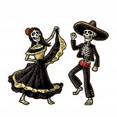 Day of the Dead, Dia de los Muertos. The skeleton in the Mexican woman national costumes sing and dance. Vector hand drawn vintage engraving for poster, label. Isolated on white background poster
