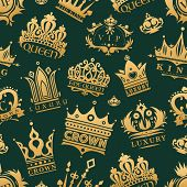 Gold crown of the king icon set nobility majestic collection insignia and imperial prince vintage jewelry kingdom queen royal classic sign vector illustration. Royalty seamless pattern background poster