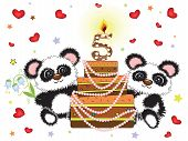 Five years, birthday postcard with panda bears and big cake. poster