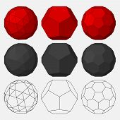 Set of three-dimensional geometric figures. Dodecahedron. Snub dodecahedron. Truncated icosahedron. Vector illustration. poster