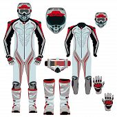 Vector illustration of motorcycle riding or race suit and protective gear. Hovering motorcycle, hovercraft suit, boots, gloves, helmet and goggles icons isolated on white background. Flat style design poster