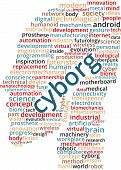 Cyborg Word Cloud Text Illustration in shape of a human head. Artificial intelligence robotics keyword tags isolated vector. Transparent. poster