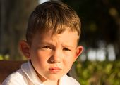 Beautiful little brunet hair boy has serious face happy eyes. Child portrait. Summer time. Close up. poster