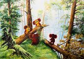 Cheburashka in Russian forest. Painting - caricature poster