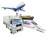 Logistics concept illustration airplane truck train and cargo container ship. poster