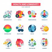 Health concept and longevity icons modern activity durability vector natural healthy life product contemplation proper nutrition illustration. Daily routine kidness endurance quality. poster