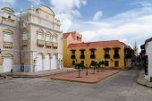 Cartagena - the colonial city in Colombia is a beautifllly set city packed with historical monuments and architectural treasures. The picture present view on the Heredia theatre poster