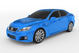 Car Isolated On White - Blue Paint, Tinted Glass - Front-left Side View