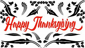 Happy Thanksgiving greeting card black and white