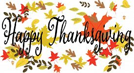 Happy Thanksgiving greeting card banner with autumn leaves