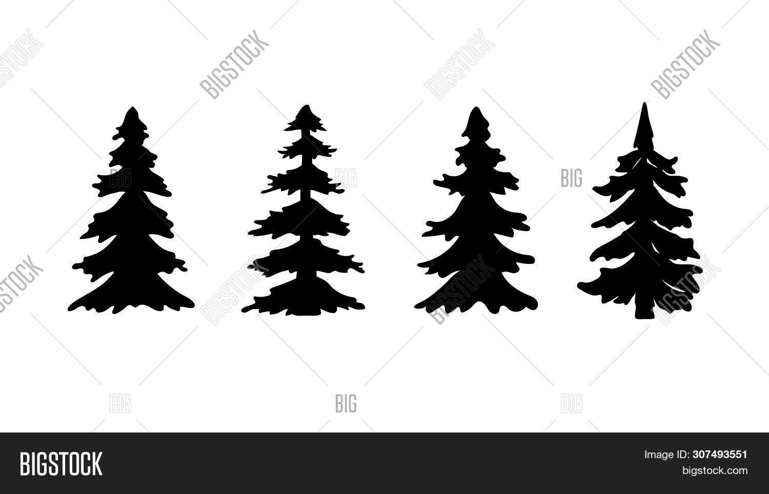 Set Silhouette Pine Vector Photo Free Trial Bigstock