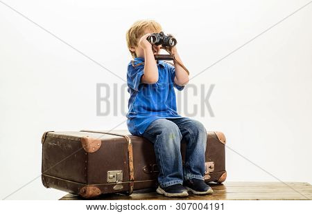 Little Boy With Suitcase And Binoculars. Holidays, Adventure, Travel Concept. Vacation, Travel, Jour