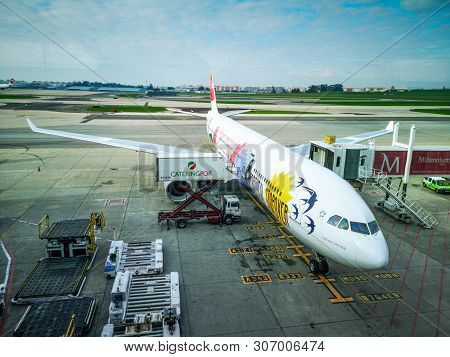 Lisbon, Portugal. January 4, 2019: Humberto Delgado International Airport. A Plane Ready To Take Tou
