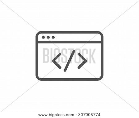 Seo Script Line Icon. Web Programming Sign. Traffic Management Symbol. Quality Design Element. Linea