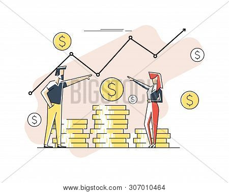 Profit Money Or Budget Vector Illustration, Flat Cartoon Pile Of Cash And Rising Graph Arrow Up, Con