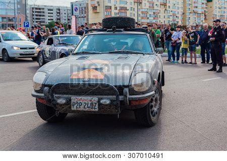 Novokuznetsk, Russia-june 14, 2019: The 7th Peking To Paris Motor Challenge 2019. Datsun 240z 1972 L