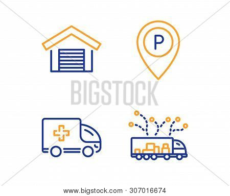 Parking Garage, Parking And Ambulance Emergency Icons Simple Set. Truck Delivery Sign. Car Place, Pa
