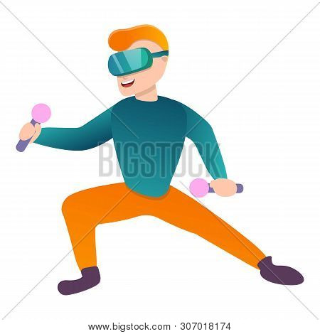 Karate In Game Goggles Icon. Cartoon Of Karate In Game Goggles Vector Icon For Web Design Isolated O