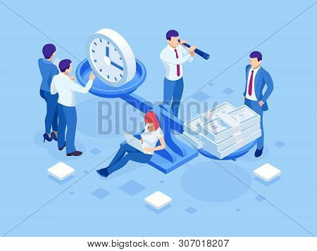Isometric Time Is Money Concept. Concept Save Time, Money Saving. Financial Investments, Revenue Inc