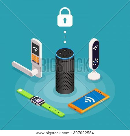 Security Internet Of Things Isometric Composition On Turquoise Background With Wireless Door Lock As