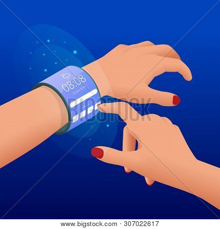 Isometric A Flexible Display Is An Electronic Visual Display. Foldable Gadgets.