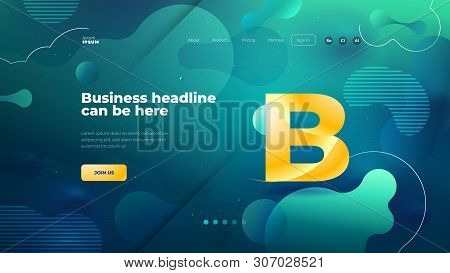 Teal Liquid Color Background Design For Landing Page Site. Fluid Gradient Shapes Composition. Futuri