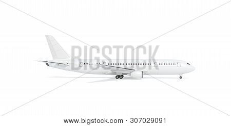 Blank White Airplane Mockup Stand, Profile View, 3d Rendering. Clear Fuselage With Portholes In Airl