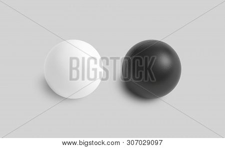 Blank Black And White Stress Ball Mockup, Top View Isolated, 3d Rendering. Clear Soft Balloon For Ex