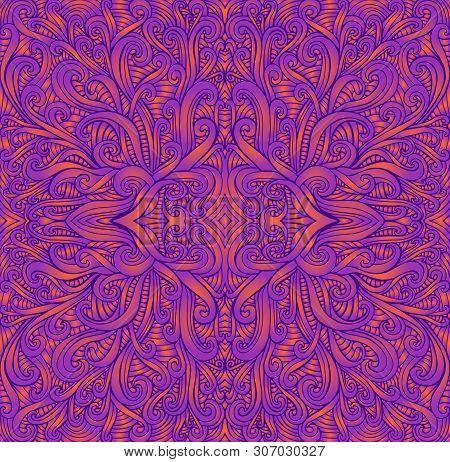 Psychedelic Vintage Trippy Colorful Fractal Mandala. Ggradient Neon Colors Orange, Purpule Bright Co