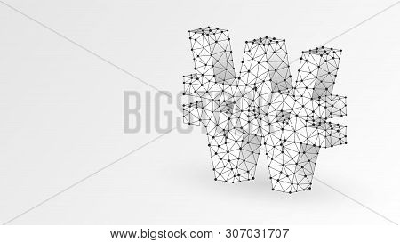Won Currency Sign. Polygonal South Korea Money Symbol. Business, Data Cash, Finance Concept. Abstrac