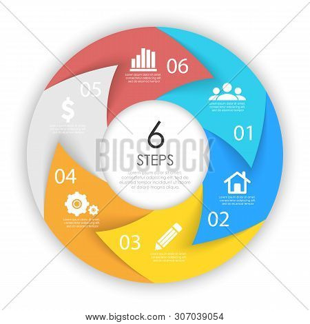 Сircle Arrows For Infographic. Business Concept With 6 Options, Steps Or Processes. Vector Pie Chart