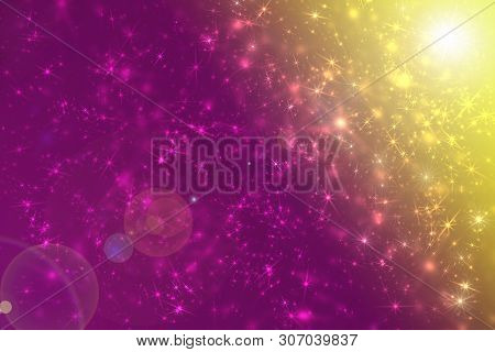 Violet Space Stars Constellation And Sun Flare Effect Defocused Pattern Wallpaper. Abstract Blurred