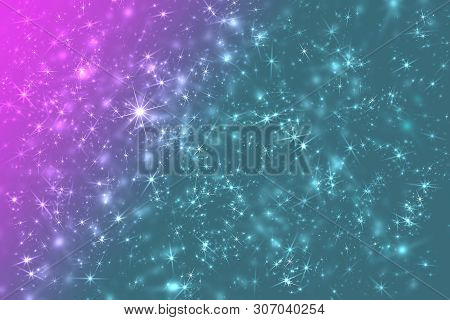 Color Space Stars Constellation Defocused Pattern Wallpaper. Abstract Blurred Background.