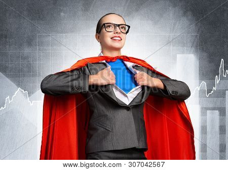 Happy Business Woman Tearing Off Her Shirt And Transforming In Super Heroine. Smiling Business Lady