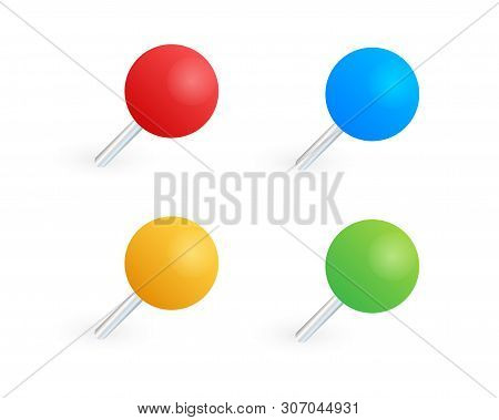 Pushpins Paper. Push Pins For Map. Vector Stock Illustration.