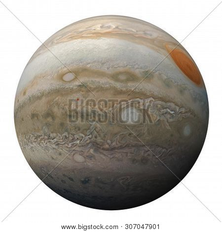 Full Disk Of Planet Jupiter Globe From Space Isolated On White Background. View Of Jupiter's Great R