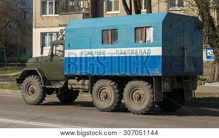 Kazakhstan, Ust-kamenogorsk, April 23, 2019: Old Soviet Truck Zil 131. Army Truck