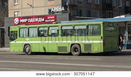 Kazakhstan, Ust-kamenogorsk, April 23, 2019: Scania Cn112cl. Green Old Bus On One Of The City Street
