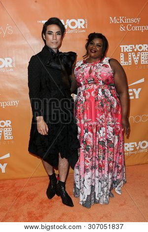 NEW YORK - JUN 17: Eugene Lee Yang (L) and Nicole Byer attend the 2019 TrevorLIVE New York Gala at Cipriani Wall Street on June 17, 2019 in New York City.