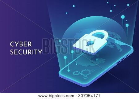 Cyber Security On Smart Phone Isometric Vector Background