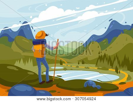 Adventure Of A Young Man In The Mountains, Travel On Hiking Trails. Concept Of Discovery, Exploratio